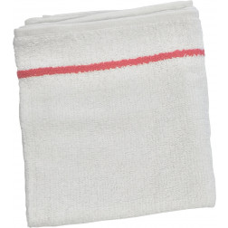 "16"" x 27"" Cotton White Towels with Cherry Stripe - Bag of 12 #BESTOWEL1UCC"