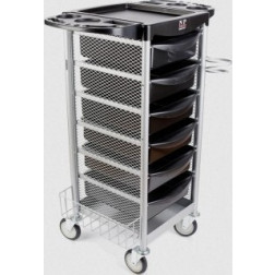 6 Drawer Salon Trolley with Metal Siding #FTRLCG4MBK